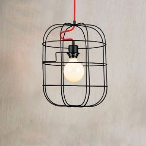 Single Light Pendant in Satin Black Finish with Red Wire Accents