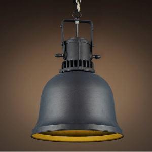 Vintage Black Single Light Large Pendant Lighting with Bell Shade