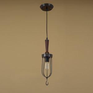 Matte Black  Spun Wood 1 Light Full Sized Pendant with Fishhook