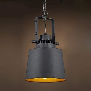 Retro 1-Light Metal Cone Pendant Light in Black