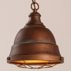Weathered Bronze Single Light Pendant with Metal Cage