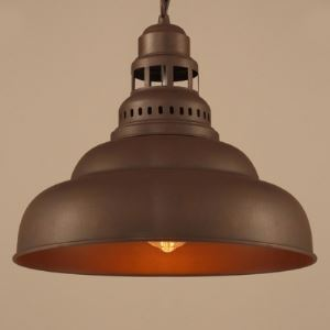 Industrial Rust Iron 1 Light Dome Swing Pendant