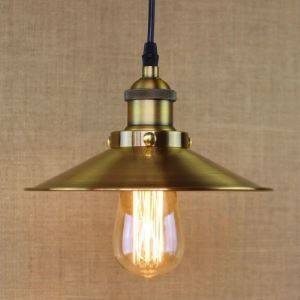 Brushed Brass 1 Light Down Lighting Cone Metal Hanging Pendant