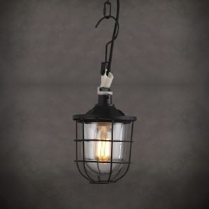 Matte Black 1 Light Warehouse Outdoor Pendant - 6 Inches Wide