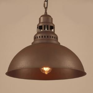 Mottled Iron 1 Light Industrial Pendant with Dome Metal Shade