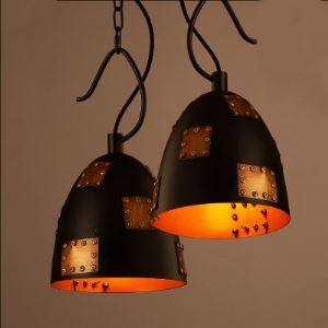 Single Light Foyer Pendant in Black Finish with Rivet Accents