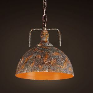 Vigorous Orange Finish 1 Light Pendant in Industrial Style