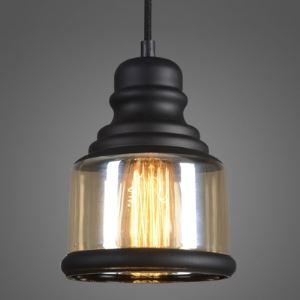 Retro Amber Glass Industrial Style Pendant with Black Fnish