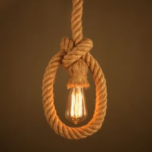Rope Knot Pendant Light in Bulb Style Rustic Natural Rope