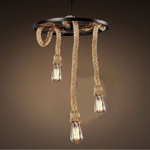 Black Wheel Base 3 Light Burlap Pendant Lighting