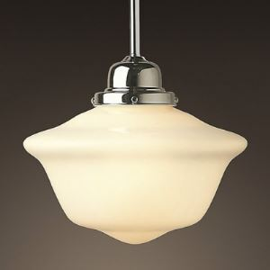 Schoolhouse Shade Chrome 1 Light Mini Pendant