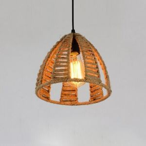 One Light Burlap Mini Pendant with Dome Shade