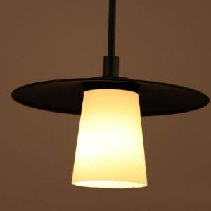 Vintage 1 Light Matte Black Pendant with White Glass Shade