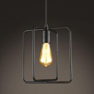 10 Inches Wide Square Shape 1-Bulb Small Pendant in Satin  Black Finish