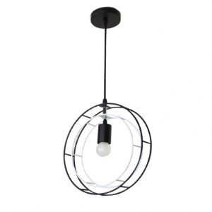 Wrought Iron White and Black Double Circle 1 Light  Pendant