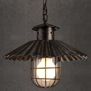 Olde Rust Iron Cage 1 Light Small Pendant Light with Pleated Design