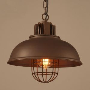 Chocolate Finished 1 Light Indoor Pendant Lighting with Metal Wire Guard