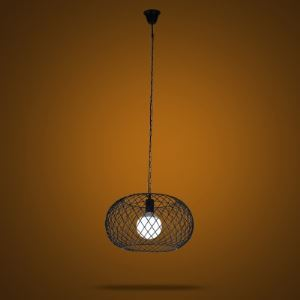Industrial 1-Light Round Metal Mesh  Foyer Pendant Lighting in Black Finish