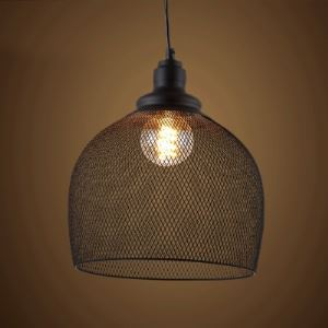12'' Wide Industrial Mesh 1 Light Foyer Pendant