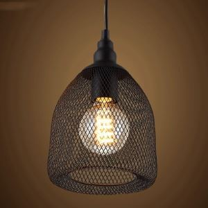 Black Metal Mesh Single Light Small Foyer Pendant