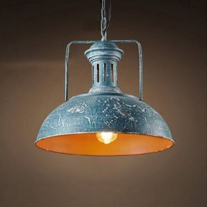 Blue Rust Iron 1 Light Down Lighting Barn Pendant with Dome Shade