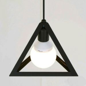 Matte Black Triangle  1 Lt Mini-Pendant Lighting