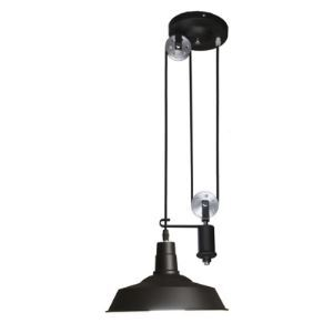 1 Light 2 Pulley Adjustable Ceiling Light with Metal Shade