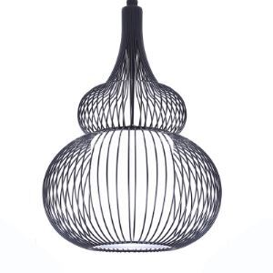 Birdcage 12'W Matte Black Pendant Light