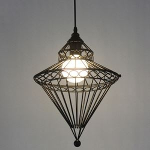 Industrial Birdcage 1 Light Foyer Pendant Light in Black Finish