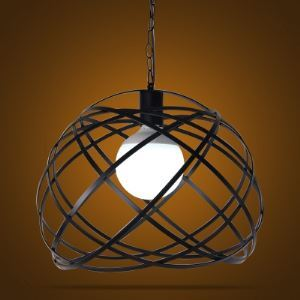 Matte Black 1 Light Swag Pendant with Hand-Formed Iron