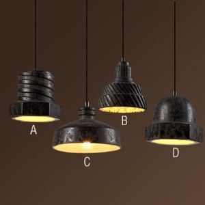 Single Light Rust Iron Small Pendant Light with Ceramic Shade