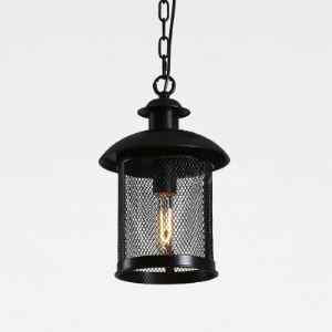 8 Inches Wide Single Light Metal Mesh Pendant Light in Farmhouse Design