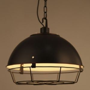 Simple Black Finish 17 Inches Wide Hanging Pendant with Cage
