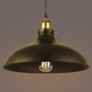 12 Inches Wide Single Light Bowl Shape Industrial Style Pendant
