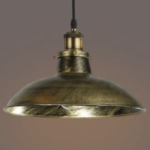 Antique Brass Single Light Bowl Shape Industrial Pendant