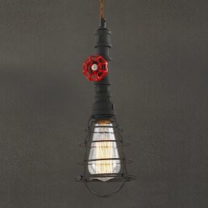 14'' H Single Light Industrial Style Pendant with Wire Guard and Red Valve