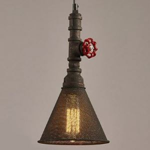 Mottled Rust 1 Light Mini Pipe Pendant with Metal Mesh