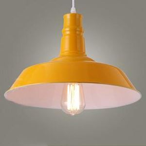 Shining Yellow Finish 10 Inches Wide Single Light Industrial Pendant Light