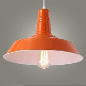 Energetic Orange Finish 1 Light Industrial Mini Pendant Light