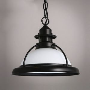 Nautical Style Mini Pendant Light with White Glass Shade