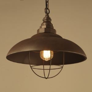 Old Iron 1 Light 15'' Wide Hanging Pendant with Metal Cage