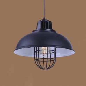 13'' Wide Bowl Shape Barn Pendant with Cage in Black Finish