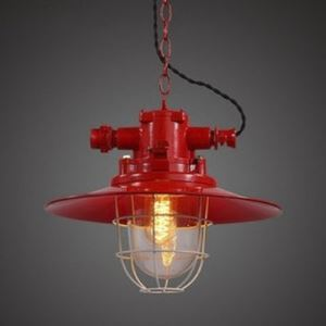 Red Finish 13'' Wide Saucer Shade One Light Barn Pendant Lighting