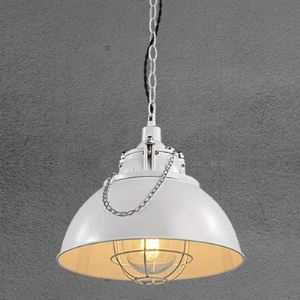 White Finish 13 Inches Bowl Shape Pendant with Glass Shade and Wire Guard