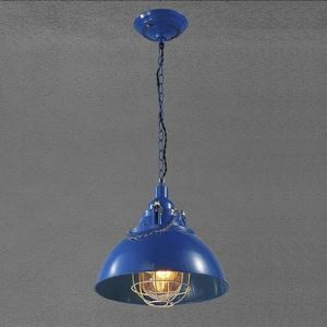 Blue Finish 13'' Wide Wire Guard Small Barn Pendant