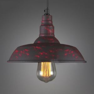 Vintage Mottled Rust Red 10'' Wide Mini Barn Pendant Light
