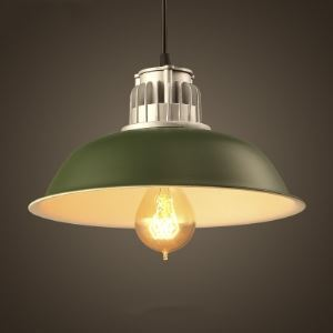Stylish Single Light 11 Inches Wide Green Finish Barn Pendant Light