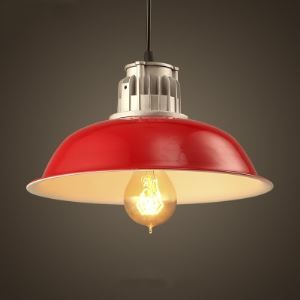 Stylish Shining Red Finish Mini Barn Pendant Light