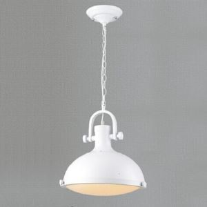 13 Inches Wide White Finish One Light Barn Pendant Light