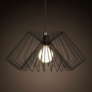 16' Wide Matte Black  Pendant Light with Heavy Wire Guard